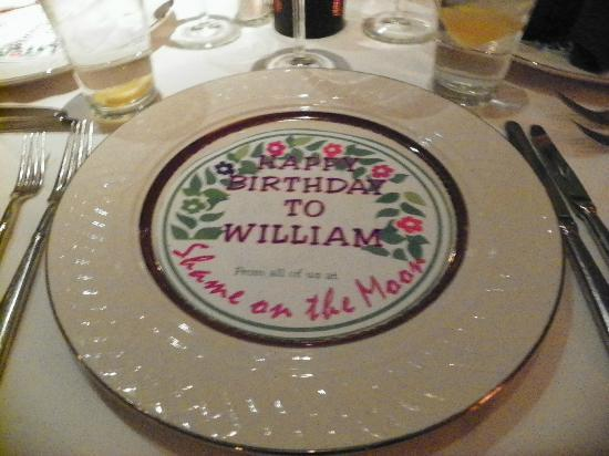 Shame on the Moon: Birthday plate covering created by restaurant