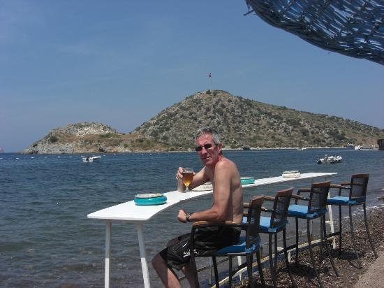 Myndos: Bar on beach .Rabbit island in background