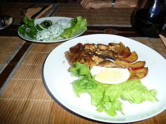 At Renaissance Square: Spinach salad and duck lungs