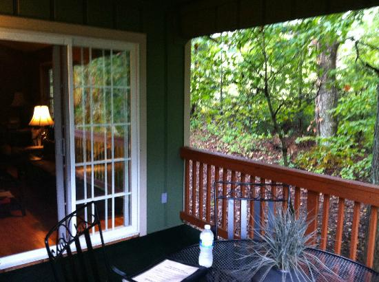 Asheville Cottages: the back deck where the hot tub is