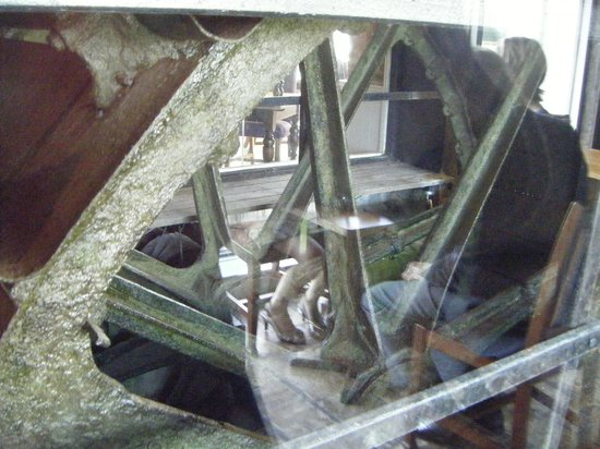 The Mill Hotel: the mill's waterwheel still turns behind glass in the bar
