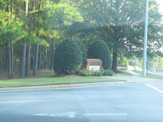 Hawthorn Suites by Wyndham Raleigh: barely visible office park signage