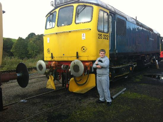 """Churnet Valley Railway : My son Stood next to his favoutite loco """"Tamworth Castle"""" stored awaiting restoration at Cheddl"""