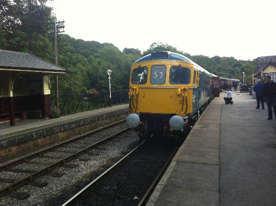 """Churnet Valley Railway : Newly restored heritage Class 33 """"Sophie"""" prepares to depart Froghall station during the Diesel"""