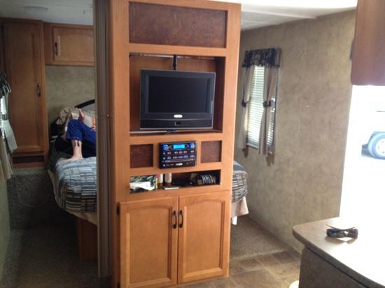 Camp Richardson Resort: swivel tv with tv on one side and mirror on the other