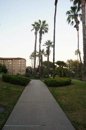 The Langham Huntington, Pasadena, Los Angeles : Hotels grounds, pathway from pool back to main building