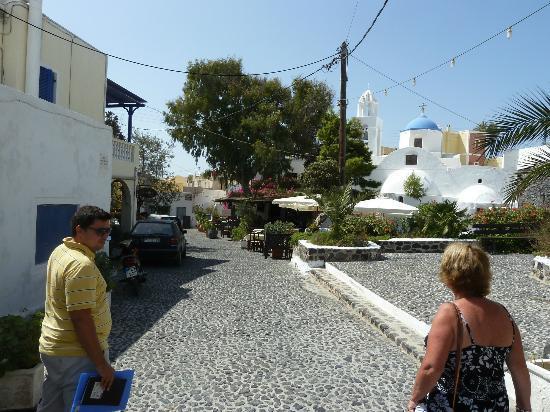 Santorini Wine Adventure: Dimitris & my wife en route to Gavalas