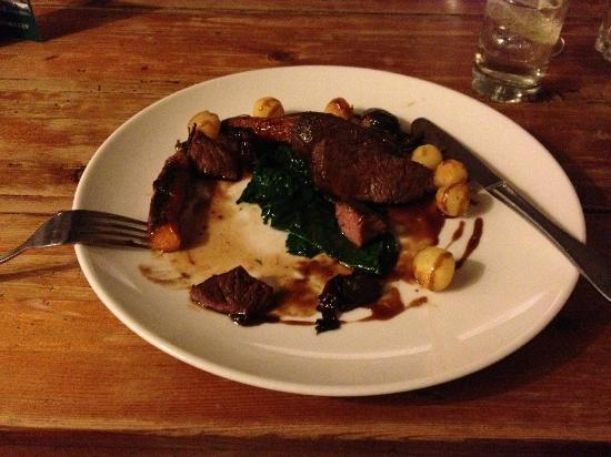 The Felin Fach Griffin Restaurant: delicious venison and spinach in a rich sauce - from the à la carte