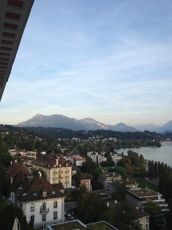 Art Deco Hotel Montana Luzern: View from the balcony looking left