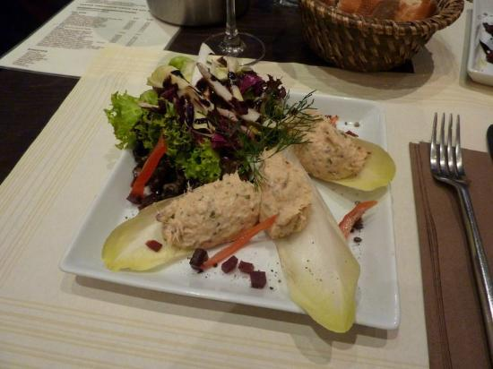 Rive Gauche : Starter with salmon and chicory