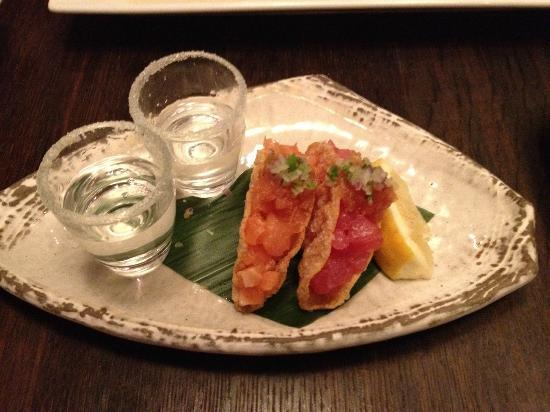 Sake Restaurant & Bar: Tuna and salmon tacos chased with sake shots rimmed with sugar