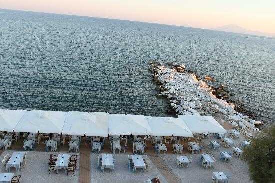 Hotel Asterias: the sea at sundown and a part of mt. Athos (right)
