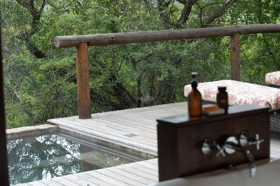 andBeyond Phinda Mountain Lodge : View over our deck from the bathroom in our villa