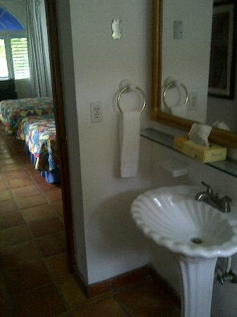 At Wind Chimes Boutique Hotel : Bathroom looking out to the main area