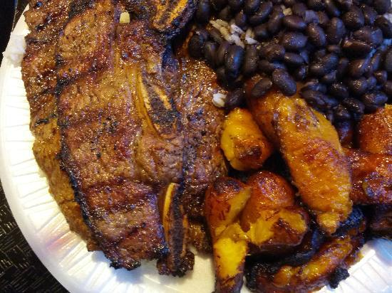 Sardi's Pollo a la Brasa : Beef short ribs with rice and beans and plantains