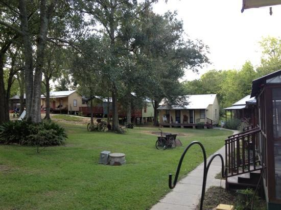 Bayou Cabins: view of other cabins from front 
