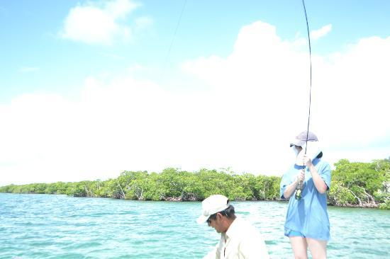 Grand Caribe Belize Resort and Condominiums : wife bending the fishing rod
