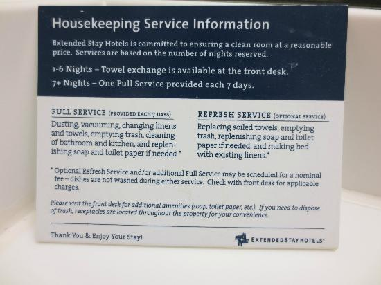 ‪‪Extended Stay America - St. Louis - Westport - Central‬: Housekeeping policy