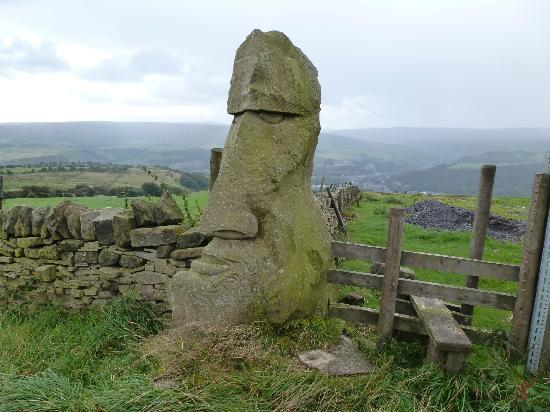Croft Mill: Carved gatepost above east Whirlaw farm