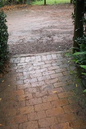 The African Cottage and Rondawel: slippery and muddy entrance