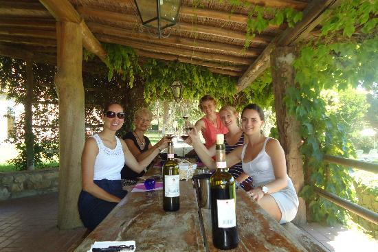 Tuscan Wine Tours with Angie: Tasting Wine and enjoying the winery