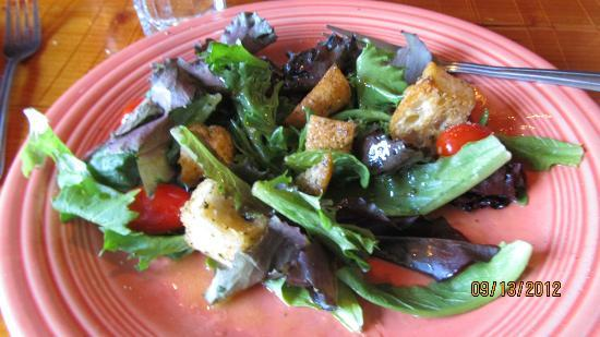 Nora's Fish Creek Inn: Dinner salad, partially eaten, was fresh and the right size.