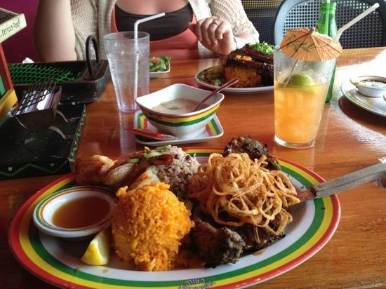 Jamaican Grill Chamorro Village : steak and shrimp meal