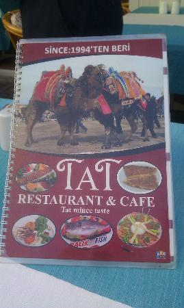 Tat Cafe Restaurant: TAT menu depicting the famous camel wrestling