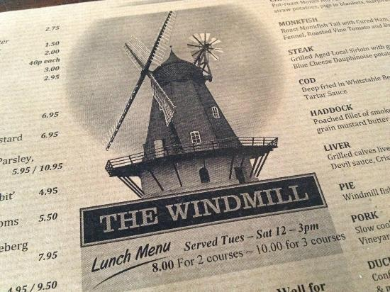 The Windmill: Rustic menu