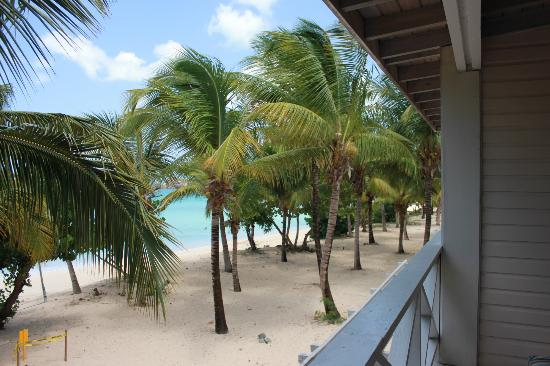 Galley Bay Resort: View from balcony of room 18 down beach