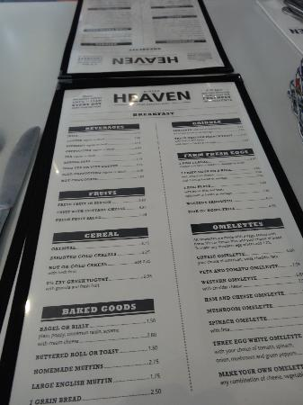 Burger Heaven: Breakfast menu