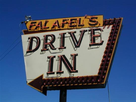 Falafel Drive-In: The sign lights the way to wonderfulness