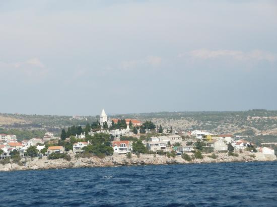 Hotel Zora: View of primosten island from sea