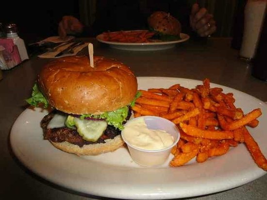 R.G. Burgers: Bison burger with sweet potato fries.