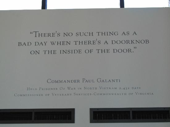 Virginia War Memorial : Quote from a POW