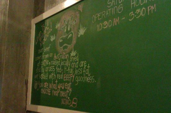 Miss B's Tuckshop: Chalk board