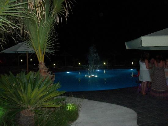 Lindos Gardens Resort Complex: The pool lit up in the evening.