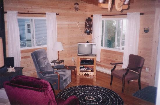 Leisure Lee by the Bay: living room is spacious and has a wood stove if the evenings are cool