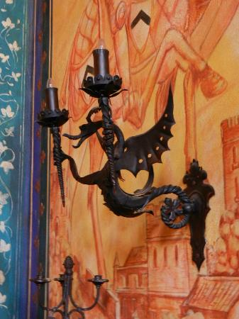 Castello di Amorosa: A dragon sconce... Beautiful details throughout.