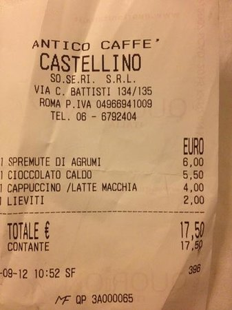 Antico caffe castellino: l'addition !!