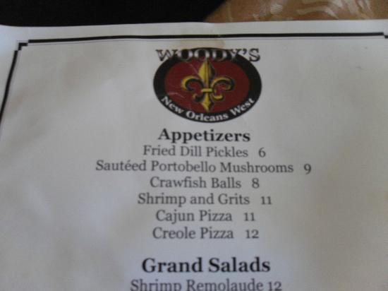 Woody's New Orleans West: waitress recommended the mushrooms and crawfish appetizers