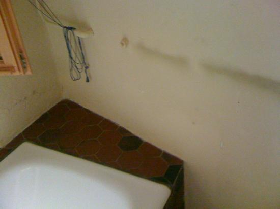 Chateau de Saint-Cirq-Lapopie: moisissure mur de salle de bain
