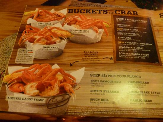 Menu Picture Of Joe 39 S Crab Shack Ann Arbor Tripadvisor