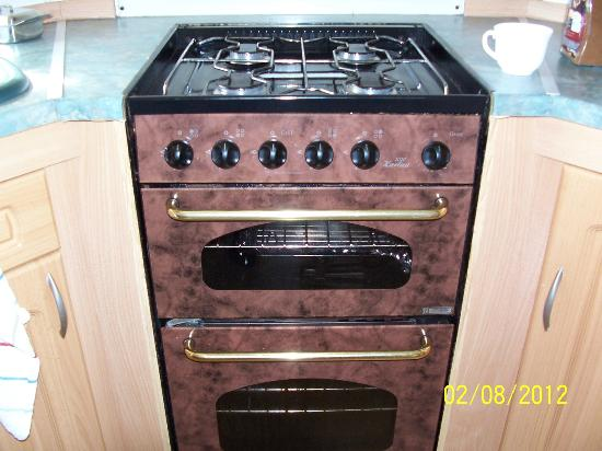 Solway Holiday Village: gas cooker seen better days as did fire