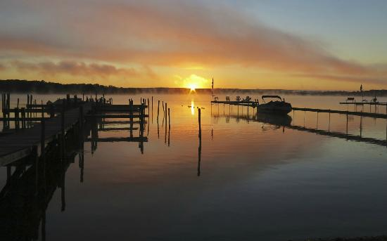 Ashville, NY: Spectacular September Sunrise, Mist on the lake