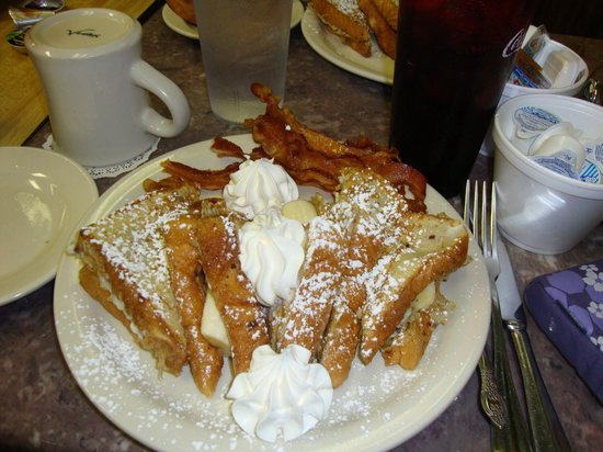 The Elvis French Toast With Peanut Butter Bananas Side Of Bacon Picture Of Clary S Cafe Savannah Tripadvisor