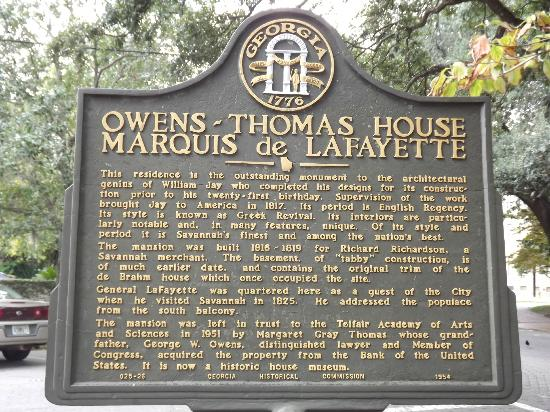 Owens-Thomas House: plaque