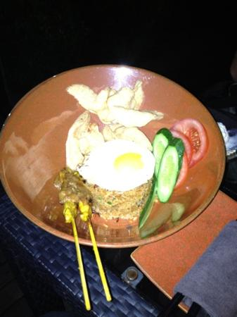 Flair Rooftop: chicken satay with fried rice