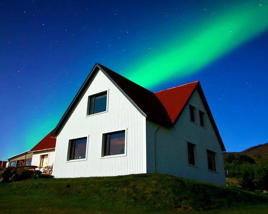 The northern lights above Minna-Mosfell Guesthouse