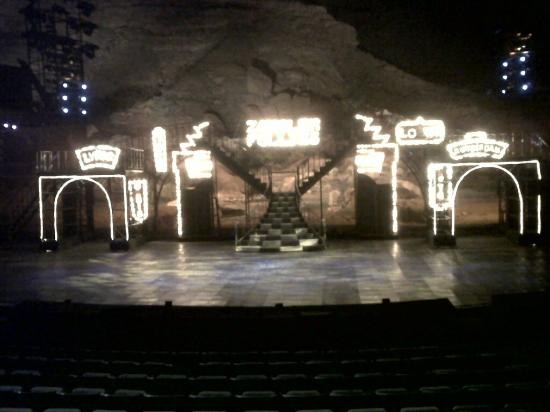 "Tuacahn Amphitheatre: Lit stage for ""Cats"" at Tuacahn in Utah"